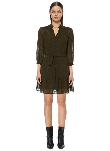 NetWork Kadın 1071687 Dik Yaka Nopeli Mini Elbise Haki
